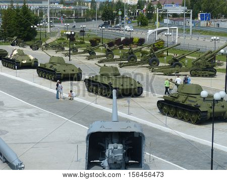 Upper Pyshma, Russia - July 02, 2016: Various military equipment in the open air in museum of military equipment. View from above. Interior of the Museum of military. 1941-1945,  II World War