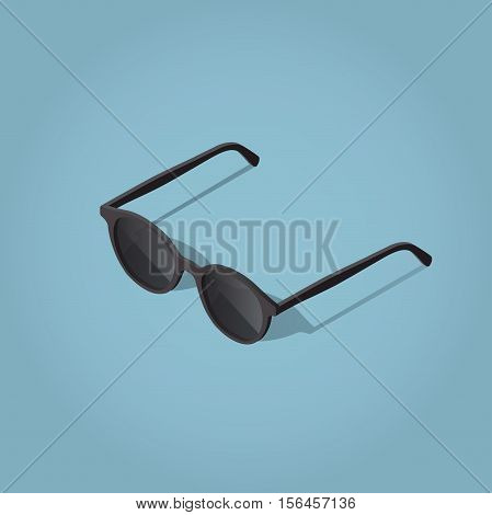 Isometric vector sun glasses illustration with shadow.