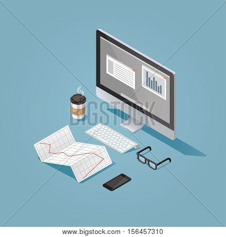 Vector isometric concept illustration of office work station. Desktop conputer glasses phone diagram keyboard cup of hot coffee finance stock infographic.