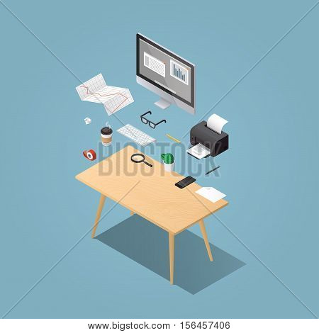 Office workplace vector isometric concept illustration. Work table composition: table book desktop printer diagram glasses papers coffee magnifier phone pen keyboard adhesive tape.