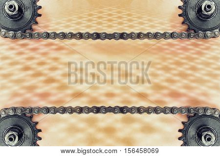 Cogwheels and double chain on grunge background with geometric pattern and empty space for text.Technology background.