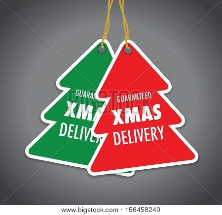 a set of two guaranteed christmas delivery tag label