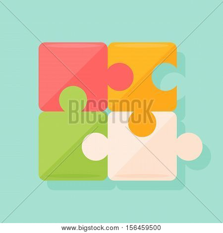 Isolated puzzles set. Four pieces. Idea of team building, challenge and strategy.