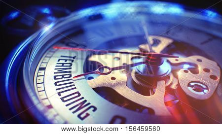 Teambuilding. on Vintage Watch Face with CloseUp View of Watch Mechanism. Time Concept. Film Effect. 3D Illustration.