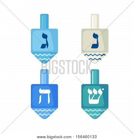 Set of Hanukkah dreidels icons in flat style isolated on white background. Vector illustration. Hanukkah dreidels with its letters of the Hebrew alphabet.