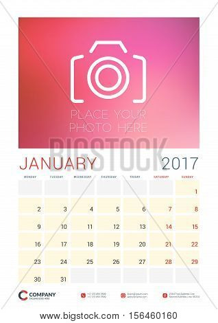 Wall Calendar Planner Template For 2017 Year. January. Vector Design Template With Place For Photo.