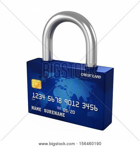 Credit Card Padlock isolated on white background. 3D render