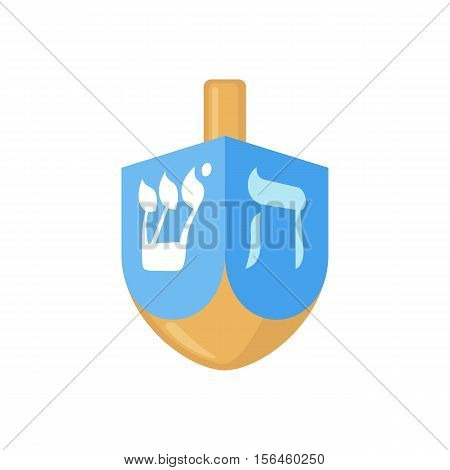 Hanukkah dreidel icon in flat style isolated on white background. Vector illustration. Hanukkah dreidel with letters of the Hebrew alphabet.