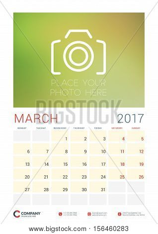 Wall Calendar Planner Template For 2017 Year. March. Vector Design Template With Place For Photo. We