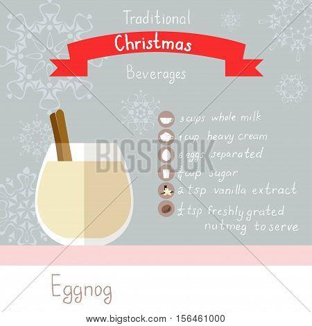 Vector illustration of eggnog recipe. Flat icons