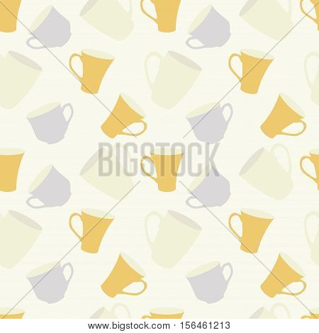 Seamless pattern with cups in pale retro colors