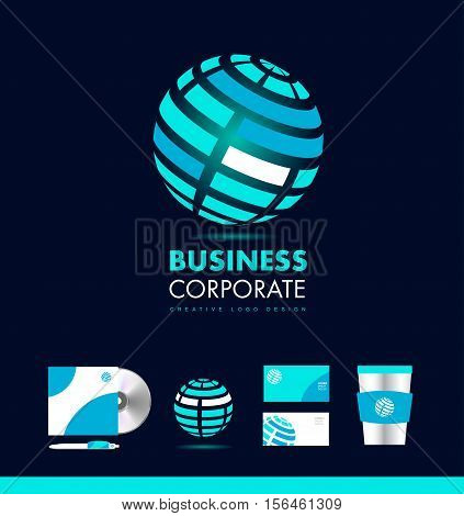 Glowing corporate business sphere vector logo icon sign design template identity