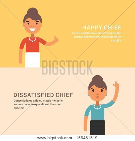 Expressions and emotions. Two horizontal web banners with female chief. Happy and dissatisfied woman chief. Flat colored vector illustration