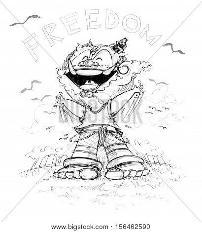Thai Giant has Freedom He very happy at green field and bird Character design and freehand pencil sketch color back and white.