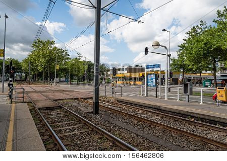 Amsterdam Netherlands - August 1 2016: Tracks of the Tram. The Amsterdam Tram is one the largest tram network in Europe.