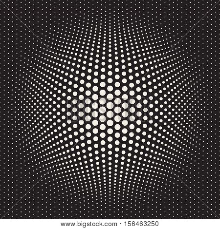 Halftone Circles Bloat Effect. Abstract Geometric Background Design. Vector Seamless Black and White Pattern.