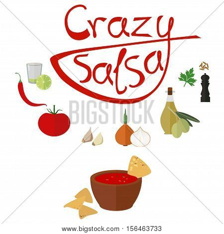 Flat icons of ingredients for slasa souce