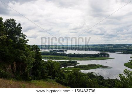 The river Mississippi branched out on several sleeves near Galena city, Illinois, USA