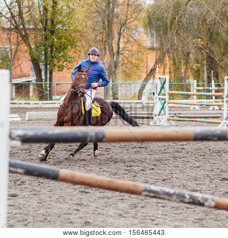 Young rider man taking his course on next hurdle on show jumping competition