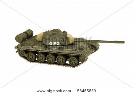 Image of a military tank with cannon isolated on white background T-55