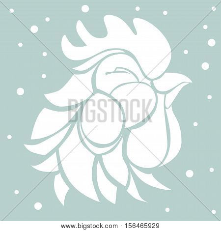 Vector illustration with decorative white silhouette of a satisfied smiling rooster on pale blue background with falling snowflakes. Graphic symbol of 2017 year in black color.