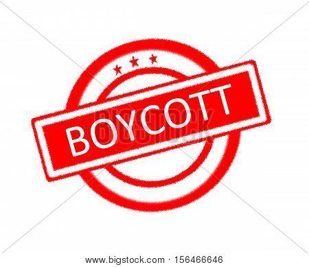 Illustration of boycott written on red rubber stamp