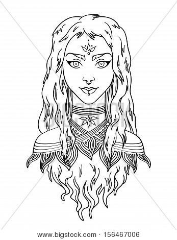 Stylish beautiful young girl with long curly hair. Young girl portrait.  Vector illustration.