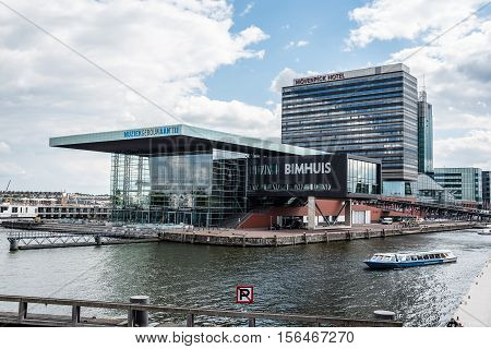 Amsterdam Netherlands - August 1 2016: Contemporary architecture in Amsterdam. The Bimhuis is a concert hall for jazz and improvised music in Amsterdam.