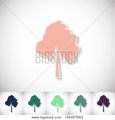Tree. Flat sticker with shadow on white background. Vector illustration