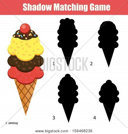 Shadow matching game for children. Find the right, correct shadow for kids preschool and school age. Printable worksheet with ice cream cone