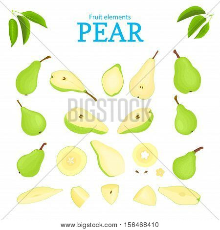 Vector set of green fruits. Pear fruit, whole peeled, piece of half slice, leaves, seed. Collection of delicious green pears designer elements for use in packaging design projects flyer healthy eating