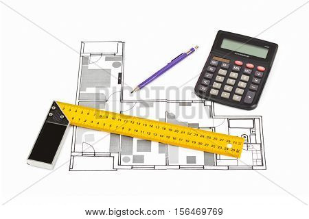 Apartment plan isolated on white background