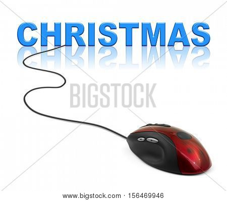 Computer mouse and Christmas - holiday concept