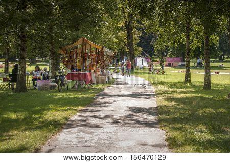 Art Camp In Mestni Park Maribor, Slovenia, Part Of Traditional Annual Lent Festival