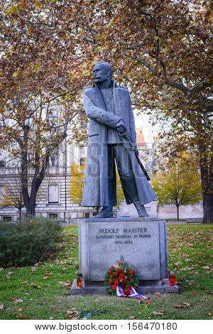 Statute Of Slovene Poet And General Rudolf Maister In Maribor, Slovenia