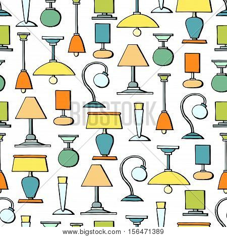 Vector seamless pattern with hand drawn colored lamps and chandeliers. Pattern on the theme of lighting. Background for use in design, packing, web site, fabric