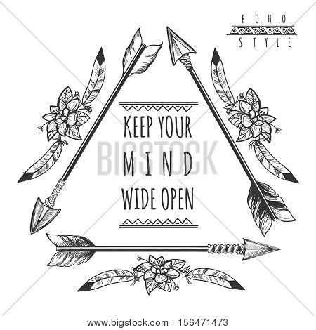 Wild freedom background with drawing arrows isolated on white. Keep your mind wide open poster. Vector illustration