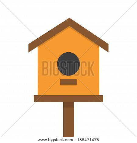 vector illustration of bird house, nesting box bird house, homemade building for birds, birdhouse handmade object