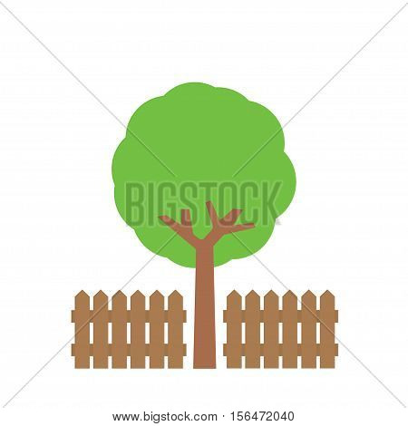 the tree near the fence on a white background, brown wooden fence, high green tree