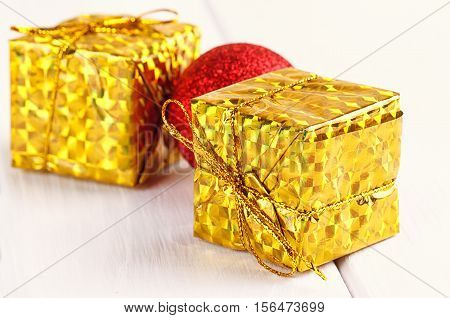 Christmas decorative gift box ball on white background