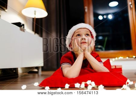 Little Child Dreaming About Christmas.