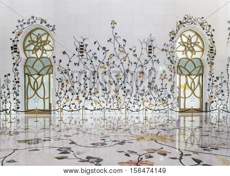 ABU DHABI UAE - NOVEMBER 5 2016 : Amazing Mosque. Sheikh Zayed Grand Mosque  (Abu-Dhabi UAE). A beautiful mosaic in the interior of the temple. Sheikh Zayed. The 3rd largest mosque in the world area is 22412 square meters.