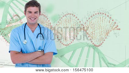 Young nurse in blue tunic with arms crossed against panoramic view of red dna pattern on screen