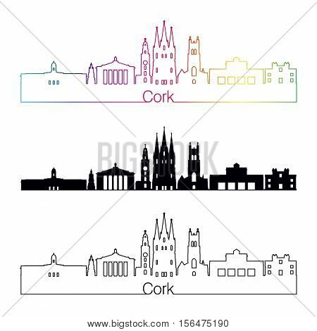 Cork Skyline Linear Style With Rainbow