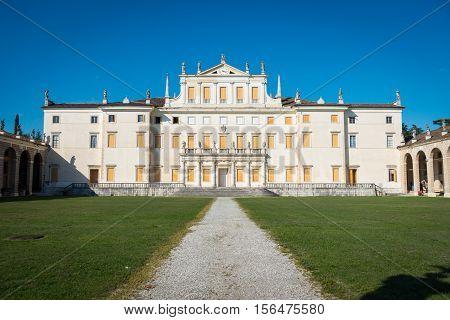 Facade of Villa Manin palace near Udine Friuli Italy