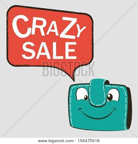 Happy green wallet with Discount. Crazy sale on speech bubble banner. Vector illustration.