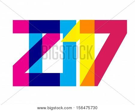 Colorful 2017 New Year Banner. Vibrant digits overlaying. CMYK colors. Bright date for calendar head, greeting, card, poster, party flyer. Strict geometric design elements. Vector illustration.