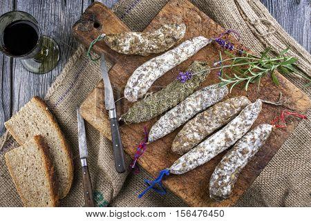 Salami on old Cutting Board