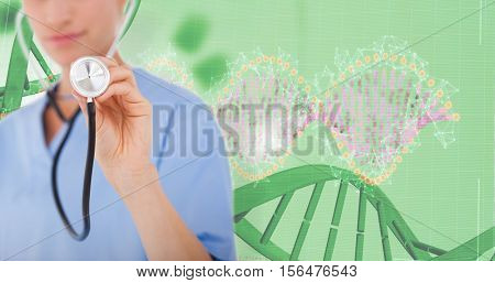 Doctor listening with stethoscope against red dna pattern on screen