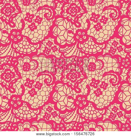 Pink lace seamless pattern with flowers on beige background